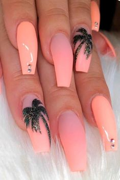 special summer nail designs for an extraordinary look - peach nails . special summer nail designs for an extraordinary look - peach nails . - 65 nails acrylic ideas for go to valentine dinner 2020 28 Colorful Nail Designs, Nail Art Designs, Tropical Nail Designs, Beach Nail Designs, Orange Nail Designs, Cute Summer Nail Designs, Gel Designs, Cute Summer Nails, Nail Summer