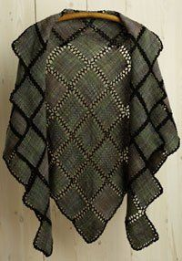John Mullarkey's shawl won Best of Show in Handwoven's 2010 Not Just for Socks contest. It combines small squares of woven cloth (created on the very simplest of pin looms) with crochet joins.