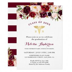 Burgundy Floral Nursing School Graduation Party Invitation Graduation invitations and celebratory graduation invites for graduates and grad parties. Nursing School Graduation, Graduate School, Graduation Gifts, Law School, School Tips, Medical School, Graduation Ideas, Nurse Grad Parties, College School