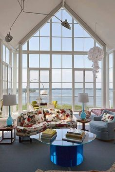 Shelter Island House - modern - family room - new york - Michael Haverland Architect Living Room Colors, Home Living Room, Living Room Designs, Interior Architecture, Interior Design, Shelter Island, Beach Cottages, Porches, Great Rooms