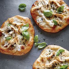 Individual White Chicken Pizzas | Cooking Light. Cook up as many pizzas as you want tonight, and freeze the rest. The key to the deliciousness (and believe us, these cheesy pizzas are amazing) is to make fresh ricotta cheese, which is more moist and creamy than store-bought. It's fast and easy to do in the microwave.
