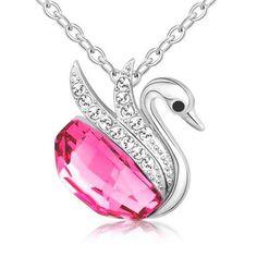Viyari Pink Swan of Grace Crystal Swarovski Elements Pendant Necklace 14 +1.5 Inch Silvertone Chain