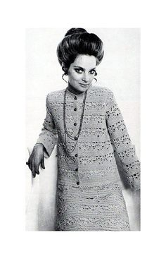 This late 1960s, 20-page Australian Patons crochet book No. 944 is a little bit mod, a little bit boho.  Contains patterns for three dresses,