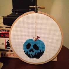 snow white poison apple cross stitch by tinywitchtinystitch