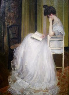 """books0977: """" Woman Reading (c. 1890). Jacques-Émile Blanche (France, 1861-1942). Oil on canvas. Blanche was a portrait painter, with a style derived from 18th-century English painters such as Thomas..."""