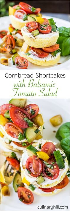 Cornbread Shortcakes are topped with sour cream and tangy, flavorful Balsamic Tomato Salad loaded with fresh herbs. This savory twist on the classic dessert is perfect for a light lunch or first course!