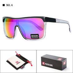 cb10f8e4b4c KDEAM Brand Men Goggle UV400 Sunglasses Flat top Frame Big Women Sun Glasses  Sport Windproof Glasses