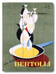 Italian Bertolli Seafood Cooking 木製看板