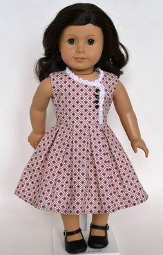 Dream of summer with a sweet and cheery dress! I based this pattern off of elements from several different era designs, so any doll American Girl Dress, American Doll Clothes, Girl Doll Clothes, Girl Dolls, African Dresses For Kids, Dresses Kids Girl, Kids Outfits, Baby Girl Frocks, Frocks For Girls