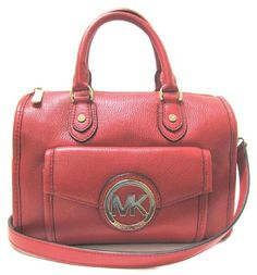 Michael Kors Margo Small Leather Satchel Red-great medium size classic red satchel, beautiful hardware on roomy outside pocket w/snap closure, 2 convenient outside side pockets, Michael Kors outlet