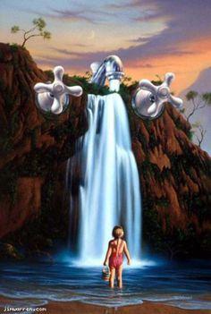 Mysteries of Life * Artist Jim Warren Fantasy Myth Mythical Mystical Legend Elf Elves Dragon Dragons Fairy Fae Wings Fairies Mermaids Mermaid Siren Dragon Dragons Siren Sword Sorcery Magic Witch Wizard Whimsy Valkyrie Humor Funny Cute Hidden Surreal