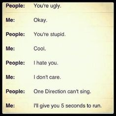 Pretty much.... you can hate me but dont you say ANYTHING bad about One Direction!!