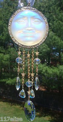 OOAK Kirks Folly Seaview Moon White Sun Catcher Ornament RARE LG AB CRYSTALS!