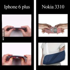 iPhone 6 plus vs Nokia 3310 Bending test - WhatsApp Text Nokia Meme, Nokia 3310 Meme, Stupid Funny Memes, Hilarious, Iphone 6, Jokes Photos, Whatsapp Text, Really Funny, Just For Laughs