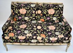 Vintage Faux Bamboo Floral on Black Upholstered by ThirteenPieces, $525.00