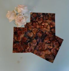 Autumn Leaves Hand Batik Insulated Coasters by BluebellandtheFox