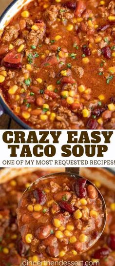 Easy Taco Soup made with ground beef, tomatoes, corn, beans, and seasoning is the PERFECT way to enjoy the taco flavors you love in a one pot dinner! #soup #tacosoup #easy #beef #groundbeef #stovetop #mexicanrecipes #mexican #dinnerthendessert Easy Soup Recipes, Dinner Recipes, Healthy Recipes, Chicken Recipes, Taco Soup Recipe Easy Crock Pot, Restaurant Recipes, Taco Stew Recipe, Quick And Easy Taco Soup Recipe, Easy Mexican Food Recipes