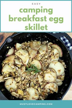 How to make a delicious and hearty camping skillet breakfast with eggs, potatoes and sausage. A quick and easy one skillet meal to feed a hungry family. Easy Campfire Meals, Campfire Food, Camping Meals, Campfire Recipes, Egg Skillet, Breakfast Skillet, One Skillet Meals, Quick Meals To Cook, Make Ahead Meals