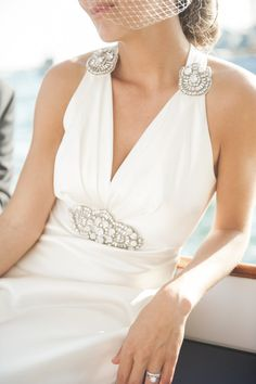 Vintage wedding dress from Molly and Nick's Regatta Place Wedding | The Newport Bride