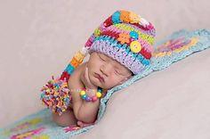 Newborn elf Hat, Rainbow Mixup, Crochet Pixie Stocking Pom Pom Beanie Hat Stripes, newborn hat perfect for photo props newborn on Etsy, $26.46 CAD