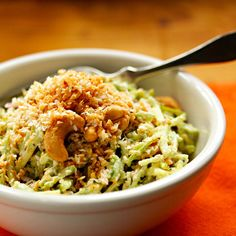 Recipe for curried broccoli slaw salad with cashews, raisins and toasted coconut {vegetarian} - The Perfect Pantry®