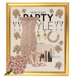 """New Years Party Style"" by lightblueshine ❤ liked on Polyvore featuring Oscar de la Renta, Laura Mercier, Riedel, Gianvito Rossi, Adrianna Papell, Valentino and NERIDA FRAIMAN"