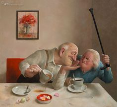 Marius van Dokkum's paintings show humorous and recognizable scenes from everyday life. The artist believes that humor makes his work access...