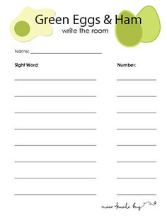 Green Eggs Amp Ham Write The Room With Sight Words FREEBIE