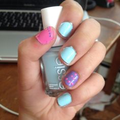 •Mint- Essie Mint Candy Apple   •Pink- Sally Hansen Hard as Nails Xtreme Wear Nail Color 470 Bubblegum Pink  •Purple- L'Oréal 107 Royally Reinvented