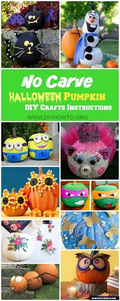 No Carve Halloween Pumpkin Decoration DIY Craft Ideas: Paint Pumpkins, Paper……