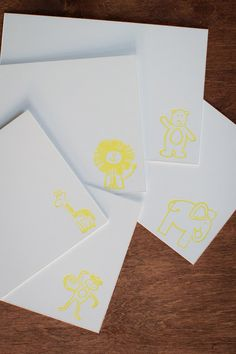 letterpress baby animals by BlockPaperInk on Etsy, #yellow #summercoloursweek
