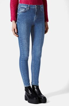 Topshop Moto 'Jamie' Skinny Jeans (Blue) (Regular & Short) available at #Nordstrom