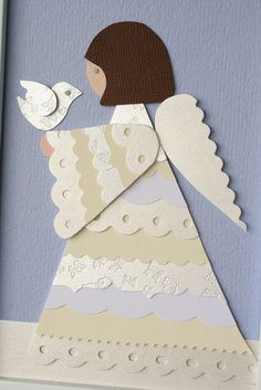 paper pieced card - angel holding a dove . love the layers of pale edge punched papers used for the angel's robe . Christmas Paper, Christmas Angels, Christmas Crafts, Handmade Christmas, Winter Cards, Holiday Cards, Origami, Punch Art Cards, Angel Crafts