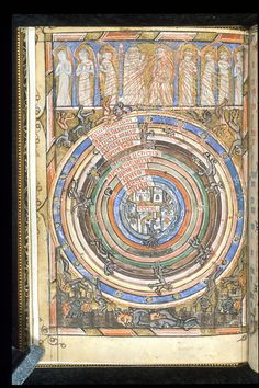 Miniature of the spheres between heaven and hell, with God and angels at the top, and falling angels becoming devils.