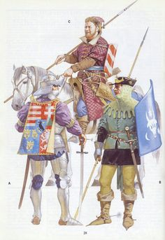 Cavalry from Eastern Europe. On the right Moldavian Voivode Stefan the Great in hussar-like attire, in the middle Moldavian border cavalryman, on the left Hungarian king Matthias Corvinus in full armour. Angus McBride 'Warriors and Warlords' book. Medieval Knight, Medieval Armor, Medieval Fantasy, Dark Fantasy, Military Art, Military History, Renaissance, Armadura Medieval, Late Middle Ages