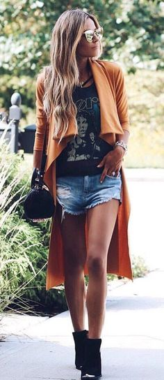 #fall #outfits women's brown long sleeve cardigan, black top and blue shorts