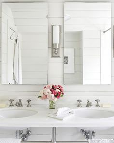House Beautiful - bathrooms - all white bathrooms, cottage bathrooms, tongue and groove, bathroom tongue and groove, tongue and groove bathr...