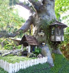 fairy garden Doll house by Johnny Wales Fairy Tree Houses, Fairy Village, Fairy Garden Houses, Gnome Garden, Diy Fairy House, Fairies Garden, Garden Crafts, Garden Projects, Garden Art