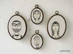 Set of 4 Custom Family Portrait,Personalized Portrait,Oval Custom Family Portrait,Hand Embroidered Custom Portrait,Embroidered Wall Art