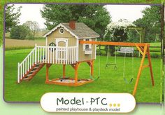 Swing Set Painted Playhouse & Play Deck