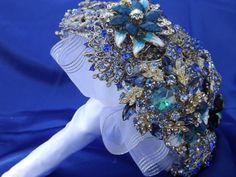 Beautiful large BLUE Brooch Bouquet