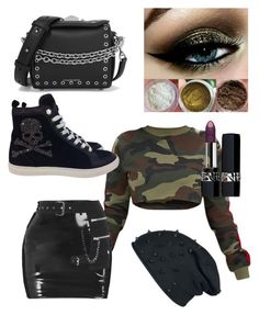 """Military rock style"" by lauragolod on Polyvore featuring moda, Philipp Plein, Christian Dior y Alexander McQueen"
