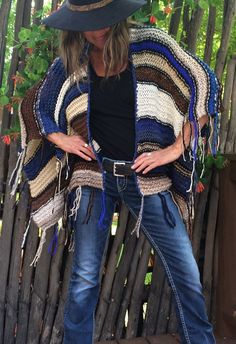 "Hip Length Knitted Womens Bohemian Festival Hippie Beach Poncho Cape Shawl (""For Jayne"")"