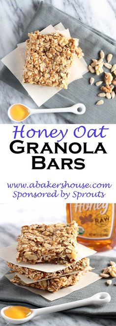 Honey Oat Granola bars combine quality ingredients into the ease of a granola bar. Granola bars come in all shapes and sizes and making them at home allows you to customize the ingredients. Made by Holly Baker at www.abakershouse.com Sponsored by Sprouts