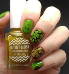 St. Patrick's Day nail stamping UberChic Beauty mini plate