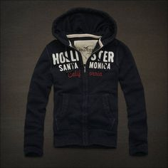 NWT HOLLISTER by ABERCROMBIE MEN CRESCENT BAY NAVY HOODIE JACKET SWEATSHIRT