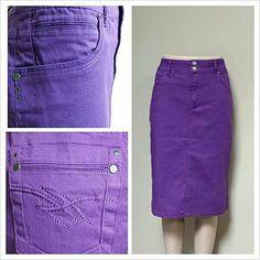Tabeez Women's Colored Knee-length Twill Denim Skirt | Denim skirt ...