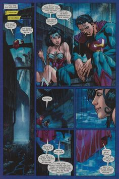 One of my favorite pages of all time in a comic book. How I would expect Wonder Woman and Superman discussing the death of Batman for the first time. Justice League (2006) #0 Page 18