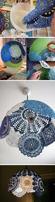 Starch some doilies (you can dye them whatever colors you like first), blow up a balloon, mold it & let it dry.  Be sure to leave a hole on top for the lighting fixture!