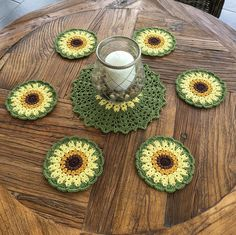 "Christel Wijk's Instagram post: ""Virkade glasunderlägg 🌻 #virkadeglasunderlägg #crochetsunflowers #crochetsunflower #virkadesolrosor #solrosor #christelshandarbete…"" Crochet Flowers, Coasters, Crochet Earrings, Leaves, Instagram, Coaster, Crochet Flower, Coaster Set"